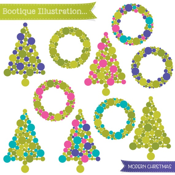 Modern Christmas Clipart. Christmas Trees Clipart. Christmas