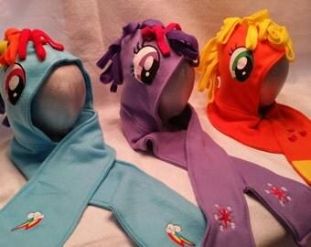 Rainbow pony hoodie scarves