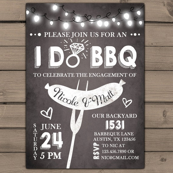 I do BBQ Engagement Party Invitation Rehearsal Dinner