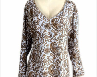 Women's Plus Size Clothing | Cotton Tunic Top with Bell Long Sleeve, Plus Size Fashion for Full Figure Women
