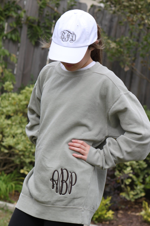hip monogrammed comfort colors sweatshirt unisex sizes