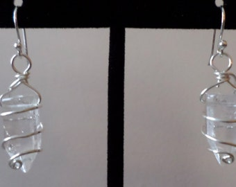 Quartz Crystal Spiral Earrings