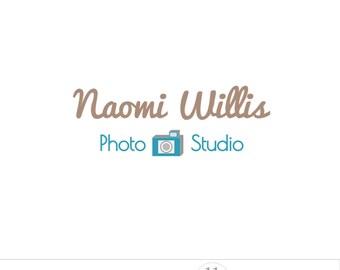 Photography logo camera, blue business logo design, photo watermark, custom premade logo