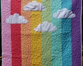 Rainbow Clouds baby quilt hand made from 100% cotton