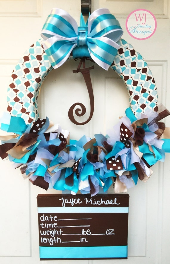 Baby boy hospital door wreath blue brown and by for Baby boy door decoration