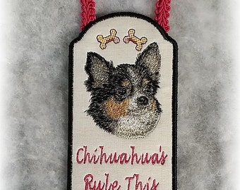 Long Hair Chihuahua Door Hangers or Wall Decor, Two To Choose from