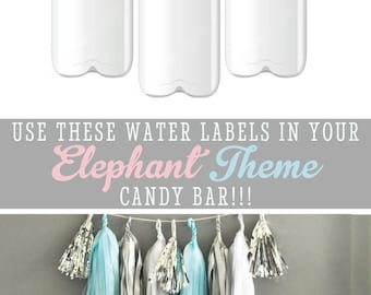 Elephant Baby Shower Water Bottle Labels Baby Boy Shower Ideas Elephant Baby Shower Theme Elephant Birthday Party (EB2350BZ) set of 24|