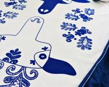 Baby Blanket Babay Boy Screen Printed Reindeer Deer Hungarian Folk Pattern Skandinavian Newborn - Navy Blue