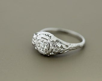 18K Gold Solitaire Diamond Ring