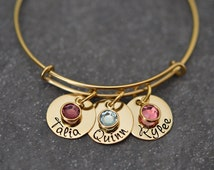 GOLD Adjustable Bangle Bracelet - Stainless Steel - 1 Size Fits All - Personalized - Name Disc w/ Birthstone Crystal