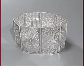 Vintage Sterling Silver Marcasite Flower Pattern Bracelet