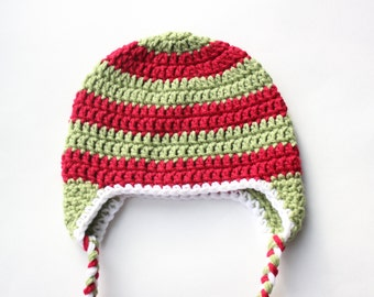 Baby Christmas Hat, Toddler Christmas Hat, Christmas Hat- Red and Green Striped Earflap Hat