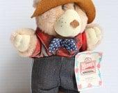 FURSKINS stuffed bear,Farrell Furskins bear,Vintage Wendy's Restaurant toy, Stuffed toy, vintage Plush Promotional Bear, vintage farmer bear