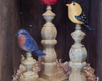 Hand Carved Birds Perched on Antiqued Architectural Spindles. Set of Three Birds.