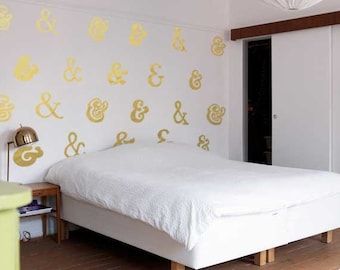 Shiny Metallic Ampersand Pattern Wall Decal: Temporary Wallpaper for Nerds