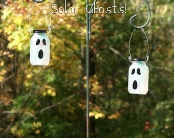 Halloween Decor - Solar Mason Jar - Halloween Decorations - Solar Ghost - Fall Decor - Halloween Light - Halloween Mason Jars