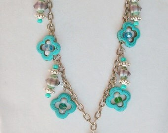 Turquoise and Silvertone Upcycled Charm Necklace - One of a kind