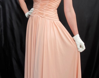 Vintage 70's Ruched Summer Peach Party Prom Dress Size 10 Small