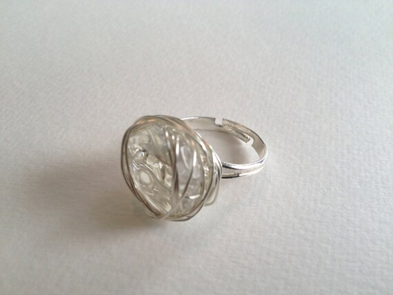 Silver-plated wire wrapped ring with recycled chandelier crystal