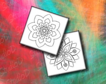 Digital collage sheet flowers, 2 inch square, fridge magnets, white flower, flower embellishment, floral decoration