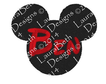 ANY Name Mickey or Minnie Mouse Silhouette Personalized - Full Embroidery Digital Designs INSTANT DOWNLOAD ~ 4x4, 5x7 and 6x10 Sizes (Ben)