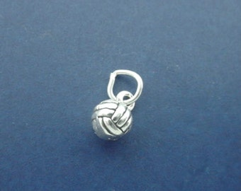 VOLLEYBALL Charm, Volley Ball MINIATURE Small 3D .925 Sterling Silver Charm