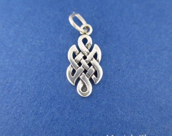 CELTIC Knot Charm, Endless KNOT MINIATURE Small .925 Sterling Silver Charm