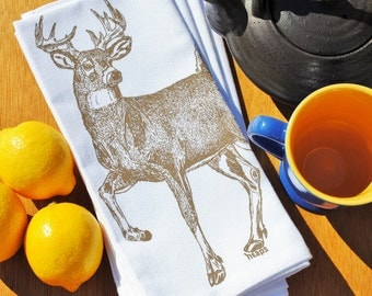 Buck Dinner Napkins - Screen Printed Cotton - Taupe Deer Unique Table Setting - Washable Reusable - Wedding Gift Ideas