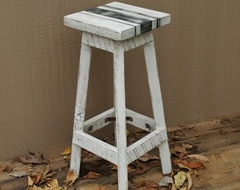 """Bar Stool - Rustic Reclaimed Barn Wood (Painted Ivory with Black French Linen Style Stripes) w/Square Top - 24"""", 25"""", 26"""", 27"""", 28"""" Tall"""