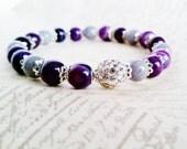 Purple Pave Bracelet; Purple Stripe Agate & Gray Mountain Jade Pave Bracelet, Gemstone Bracelet, Beaded Accessory, Jewelry Gift Idea for Her