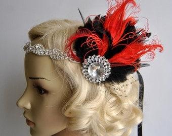Splendor red and black 1920s Rhinestone headband,Bridal Feather Fascinator,beaded Headband,1920 Headpiece Bridal fascinator headband Wedding