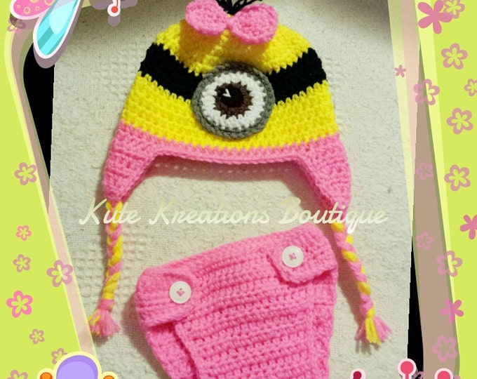 Imspired Crochet Pink Minion Diaper Cover Set with Earflap Beanie