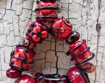 HandMade Lampwork -:- CanCan Dance Mishap -Set of 14 Beads - Artisan Made in the USA - Fully Kiln Annealed -