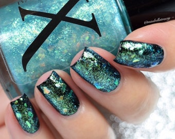 Arcadia - Glass Flakie Polish - Multichrome Flakies - Shifting Glass Fleck -Iridescent Glitter and Lime Green to Turquoise Shifting Flakes
