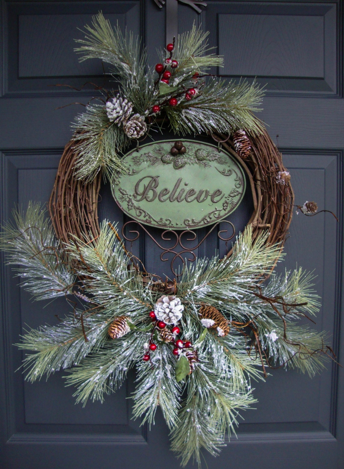 Rustic christmas wreaths believe outdoor holiday wreath Christmas wreath decorations