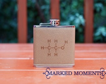 Leather Flask - Alcohol Molecule - Fun and Nerdy Chemistry Flask because geeks still know how to party stocking stuffer gag gift christmas