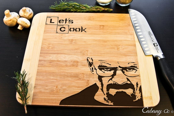Breaking Bad Cutting Board Heisenberg Engraved Bamboo Cook~ Walter White, Jesse Pinkman, Birthday, Christmas Gift, Gift for him, Lets cook