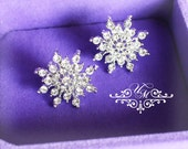 Wedding Jewelry Wedding earrings Rhinestone snowflake earrings Studs earrings Bridal Earrings Bridesmaids Earrings - EALD