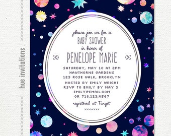 Space Themed Baby Shower Invitation, Modern Girls Baby Shower, Planets  Stars Watercolor Galaxy Baby