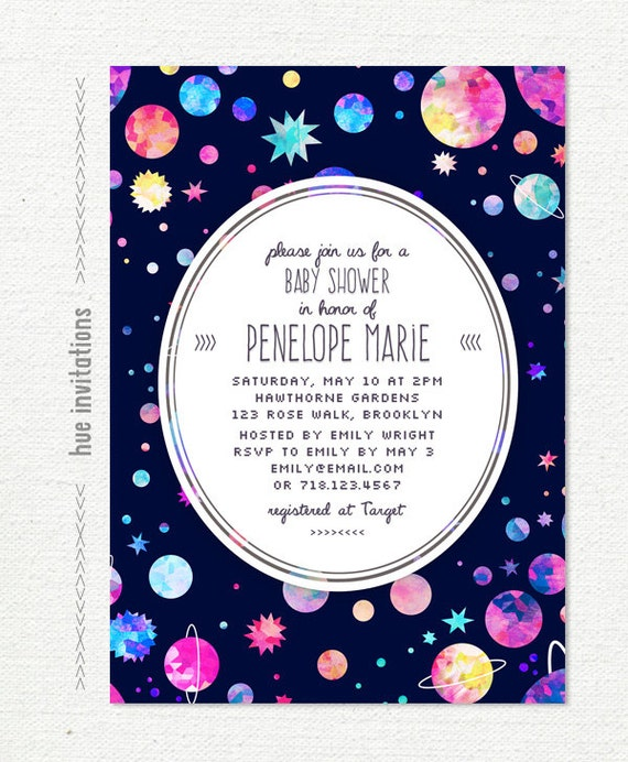 space themed baby shower invitation modern girls baby shower planets
