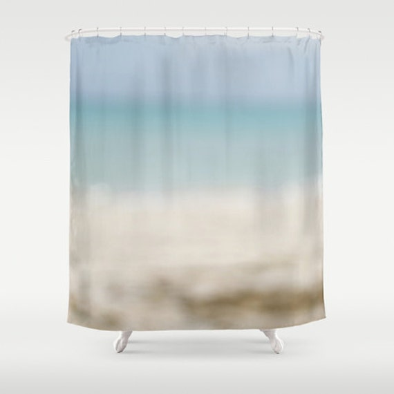 Shower Curtains, Ocean Photo, Beach Bathroom, Bath Accessories, Blue Ombre, Soothing Colors, Beige and Blue, Abstract Photography, Tropical