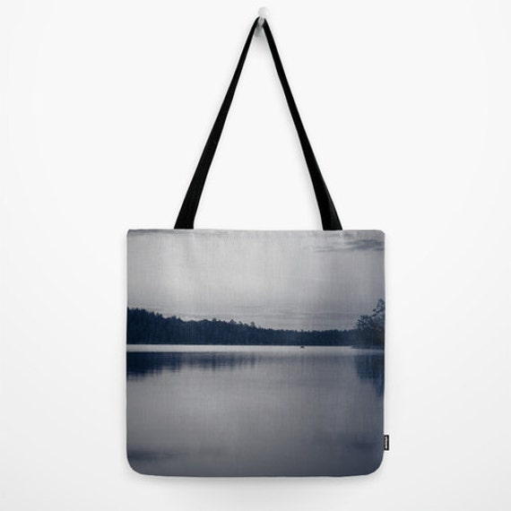 Tote Bag, Nature Photography, Lake Landscape, Black and White, Grey Tote, Farmer's Market Bag, Yoga Gear, Cool Gym Bag, Unique Photo Product
