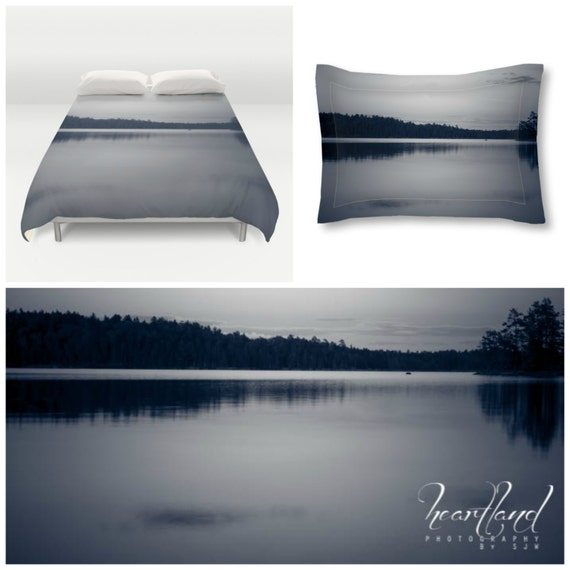 Duvet Cover Set, Pillow Sham Included, Matching Set, Lake Photography, Boundary Waters, Black and White, Queen Bedding, King Duvet Set