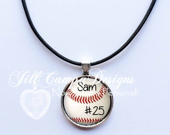 PERSONALIZED BASEBALL NECKLACE, Baseball Necklace - custom baseball pendant - Baseball Mom - baseball  - jewelry for boys -teen boy gift