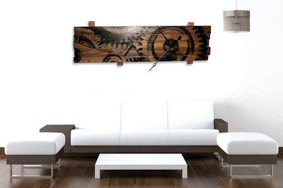 horloge murale surdimensionn avec horloge engrenages art sur. Black Bedroom Furniture Sets. Home Design Ideas