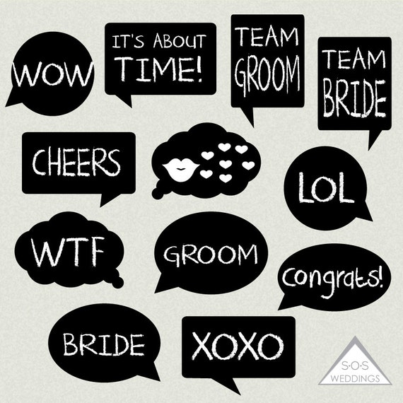 Word Bubble Photo Booth Signs Wedding Photobooth by ...