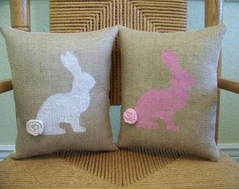 Bunny pillow, Rabbit pillow, Easter pillow, Spring pillow, Easter decor, stenciled pillow, Nursery pillow, free shipping!