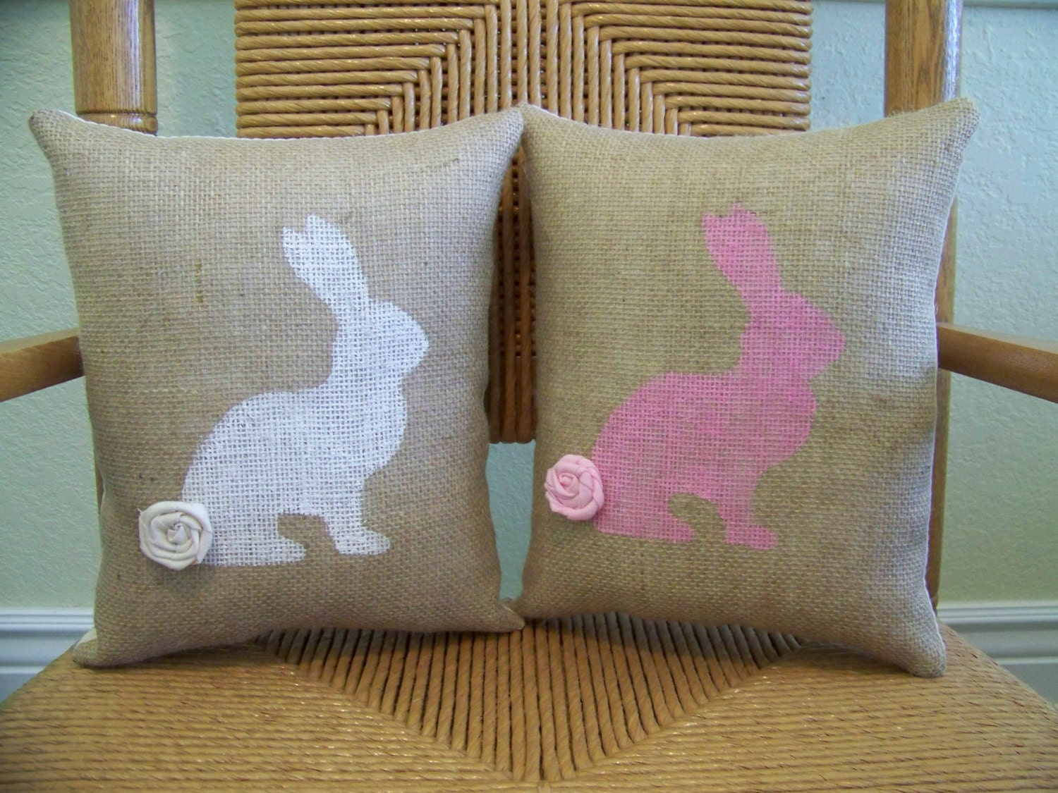 Decorative Pillows With Rabbits : Bunny pillow Rabbit pillow Easter pillow by KelleysCollections