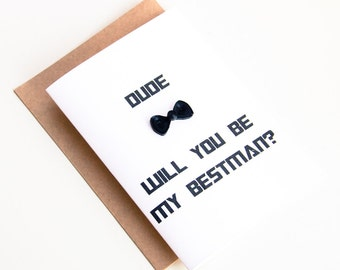 Bestman card - Will You Be My Bestman Card - Transformer typography