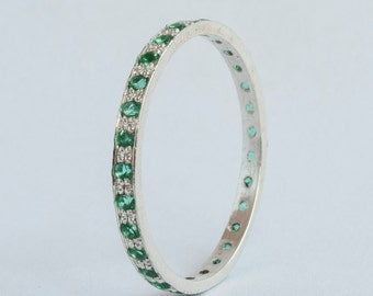 White gold Emerald Eternity ring
